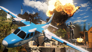 JC3 blue plane and explosion