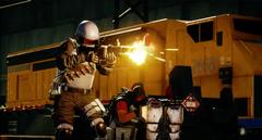JC4 grenadier fires a grenade launcher