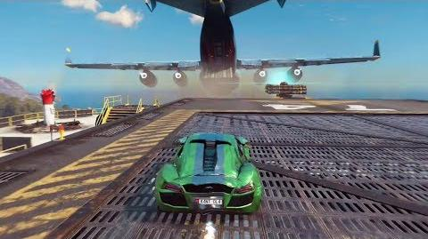 Just Cause 3 Jumping a Car Into a Flying Cargo Plane