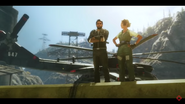 Rico and Mira (near a helicopter, in a game trailer)
