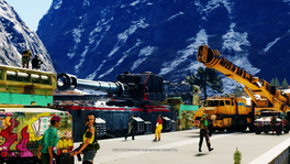 Sandstinger Train Robbery (Army of Chaos train and crane truck)
