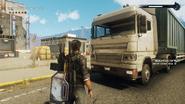 Cargo trailer truck (left front corner)