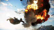 JC3 skydiving and explosion