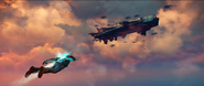 Sky Fortress (trailer screenshot - Rico on his way to enemy ship)