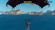 Tangled Up In Blue (parachuting to boat)