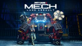 Mech Land Assault logo and black hand mech