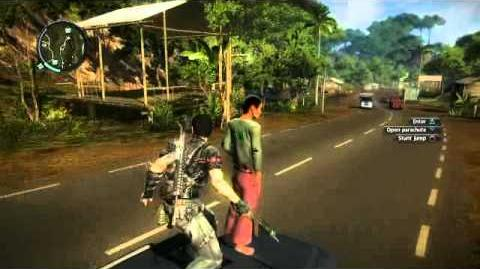 Just Cause 2 video - villager stands on the hood of a car with Rico
