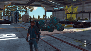 JC3 abandoned industrial building with teleport device and pile of bavarium rocks