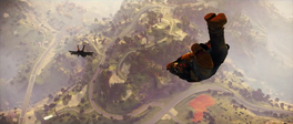 JC3 skydiving after fighter