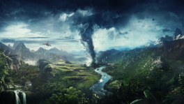 JC4 artwork (mountains, river, tornado, helicopter)