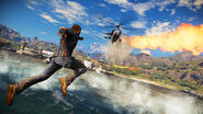 JC3 grappling to a helicopter