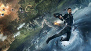 JC4 artwork (Rico in the sky with an SMG)