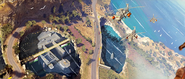 JC3 promotional artwork with helicopters and an underground base