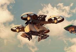 JC3 big white drone flying