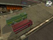 -Pankhurst Bus Tap Tap- and -Vanderbildt Streamliner- together side by side, upper side view.