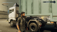 Cargo trailer truck (trailer connection)