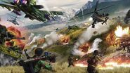 JC4 artwork (battle with planes, helicopters and armored vehicles)