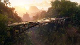 JC4 leaked screenshot (town built into a bridge)
