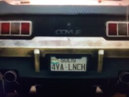 JC4 muscle car license plate close up