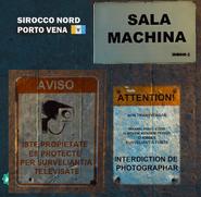 Warning signs at Porto Vena