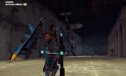 JC3 fighters grappled to a wall