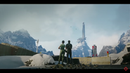 Rico and Mira (staring at a very tall base, in a game trailer)