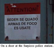 JC3 language police station door sign