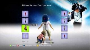 The Michael Jackson Experience XBox Live Marketplace Avatar Items
