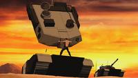 Superboy rasgando um tanque