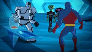 The Justice League stands between Brainiac and the bottled city.