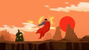 In the sun, Steppenwolf blasts Superman.