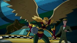 Swamp Thing and Hawkman fare better as Space Cabby's fare.