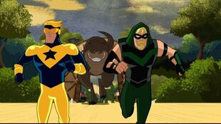 Booster Gold inflicts his Jurassic lark on Green Arrow.