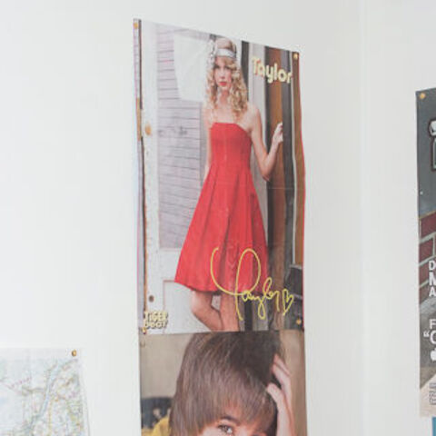 Taylor Swift poster in Justin's room, grandparents' home