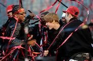 Justin Bieber on stage with dancers VMA's 2010
