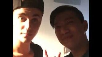 Justin Bieber with Bryanboy at the Calvin Klein Jeans event