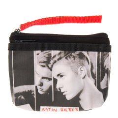 Justin Bieber Coin Purse<br /><br />Keep all your coins and cards together in this super cool Justine Bieber coin holder. The purse has been designed in black, white and red with close up images of Justin Bieber on the front and a zip fastening to keep your money safe.