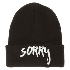 Justin Bieber Sorry Black Knit Beanie Hat<br /><br />This black knit beanie hat is perfect for any Belieber. The title of his hit song