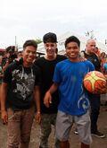 Bieber playing basketball in Tacloban City 2013