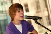 Justin performing at the Nintendo World Store in NYC