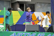Justin Bieber performs during 2009 Arthur Ashe Kids' Day