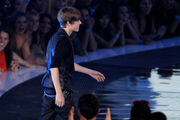 Justin Bieber on stage to accept award VMA's 2010
