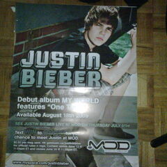 Poster promoting Justin on MOD