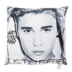 Justin Bieber Large Black &amp; White What Do You Mean Cushion<br /><br />Are you the ultimate belieber? Then this large black and white Justin Bieber cushion is the perfect bedroom accessory for you! The cushion features large text reading 'Justin Bieber' and 'What Do You Mean?' over the top of a close up image of your favourite popstars face!