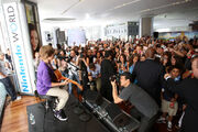 Justin Bieber performing at the Nintendo World Store 2009