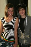 Justin and Kristen Rodeheaver at the Justin Bieber 'One Time' music video shoot