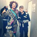 Redfoo and Justin Bieber backstage at EMA's 2011