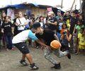 Justin Bieber playing basketball in Tacloban City 2013