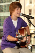 Justin Bieber performing at the Nintendo World Store in NYC
