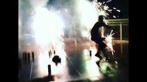 Justin Bieber running through fireworks